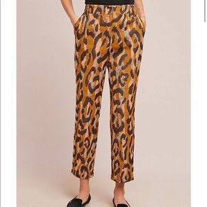Anthro • Tweed Leopard Print Cropped Pants